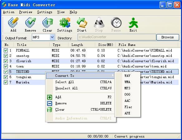 EASE Midi Converter can convert midi to mp3, mid to wav and midi to ogg ,wma, aa